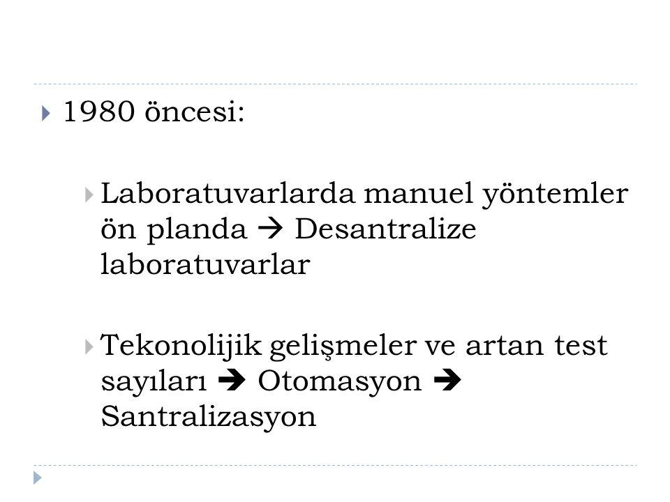  1980 öncesi:  Laboratuvarlarda manuel yöntemler ön planda  Desantralize laboratuvarlar  Tekonolijik gelişmeler ve artan test sayıları  Otomasyon