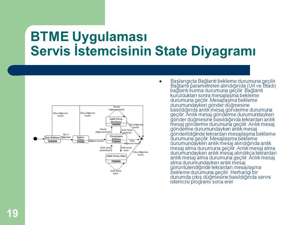 19 BTME Uygulaması Servis İstemcisinin State Diyagramı  Başlangıçta Bağlantı bekleme durumuna geçilir. Bağlantı parametreleri alındığında (Url ve Bta