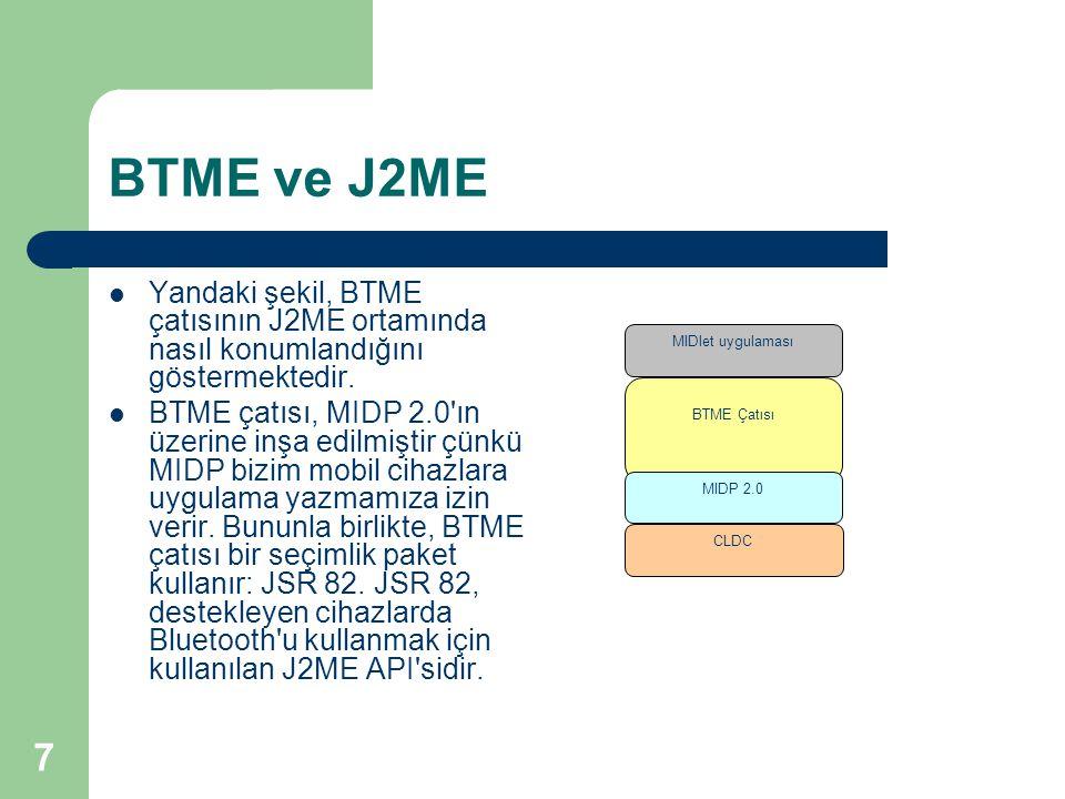 7 BTME ve J2ME  Yandaki şekil, BTME çatısının J2ME ortamında nasıl konumlandığını göstermektedir.  BTME çatısı, MIDP 2.0'ın üzerine inşa edilmiştir