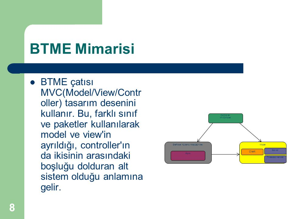 8 BTME Mimarisi  BTME çatısı MVC(Model/View/Contr oller) tasarım desenini kullanır. Bu, farklı sınıf ve paketler kullanılarak model ve view'in ayrıld