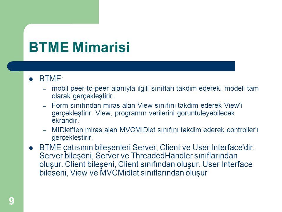 9 BTME Mimarisi  BTME: – mobil peer-to-peer alanıyla ilgili sınıfları takdim ederek, modeli tam olarak gerçekleştirir. – Form sınıfından miras alan V