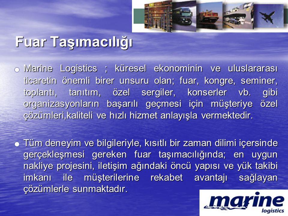 Fuar Taşımacılığı Marine Logistics ; küresel ekonominin ve uluslararası ticaretin önemli birer unsuru olan; fuar, kongre, seminer, toplantı, tanıtım,