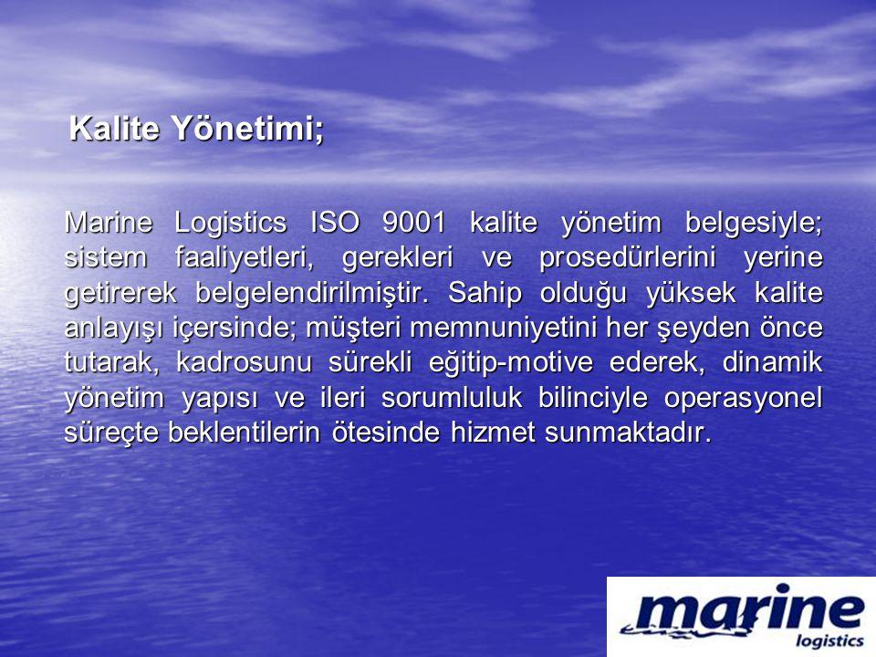 Kalite Yönetimi; Kalite Yönetimi; Marine Logistics ISO 9001 kalite yönetim belgesiyle; sistem faaliyetleri, gerekleri ve prosedürlerini yerine getirer