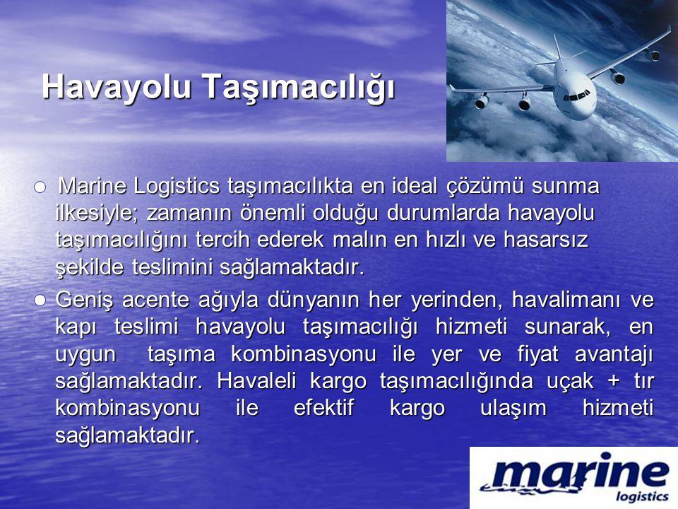 Havayolu Taşımacılığı Marine Logistics taşımacılıkta en ideal çözümü sunma ilkesiyle; zamanın önemli olduğu durumlarda havayolu taşımacılığını tercih