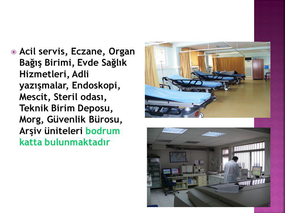  Acil servis, Eczane, Organ Bağış Birimi, Evde Sağlık Hizmetleri, Adli yazışmalar, Endoskopi, Mescit, Steril odası, Teknik Birim Deposu, Morg, Güvenlik Bürosu, Arşiv üniteleri bodrum katta bulunmaktadır 6