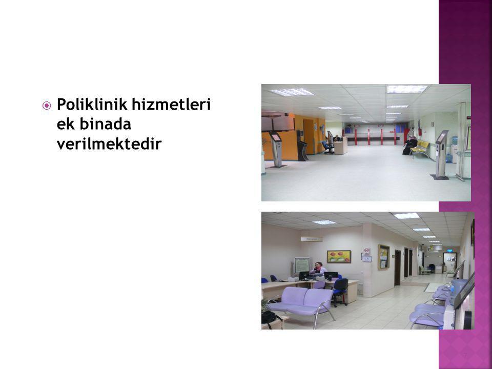  Poliklinik binasında ayrıca hasta hakları, röntgen, kan alım ünitesi, EKG birimleri ve ESWL ( Taş kırma Ünitesi) bulunmaktadır