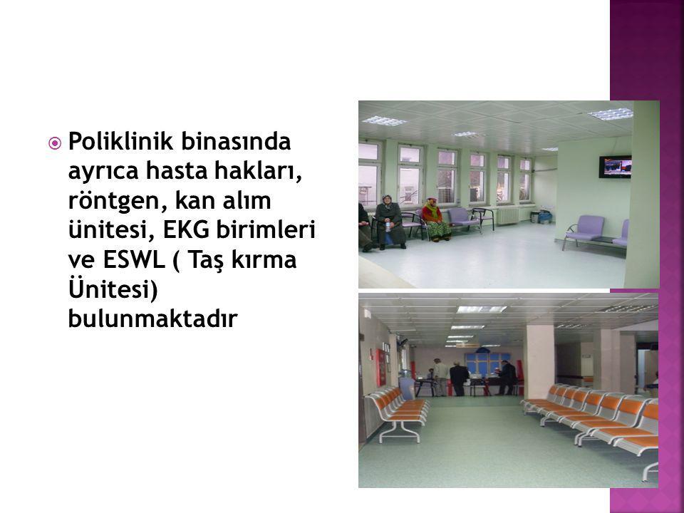  Merkez laboratuar, Hemodiyaliz Ünitesi, 112 ve Sıhhi sarf deposu hastanemizin doğu cephesindeki bağımsız ek binada yer almaktadır 9