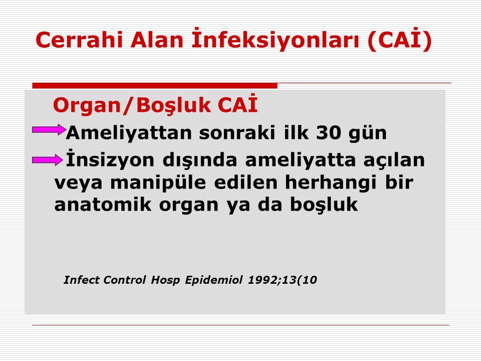 Cerrahi Alan İnfeksiyonları (CAİ) Organ/Boşluk CAİ Ameliyattan sonraki ilk 30 gün İnsizyon dışında ameliyatta açılan veya manipüle edilen herhangi bir
