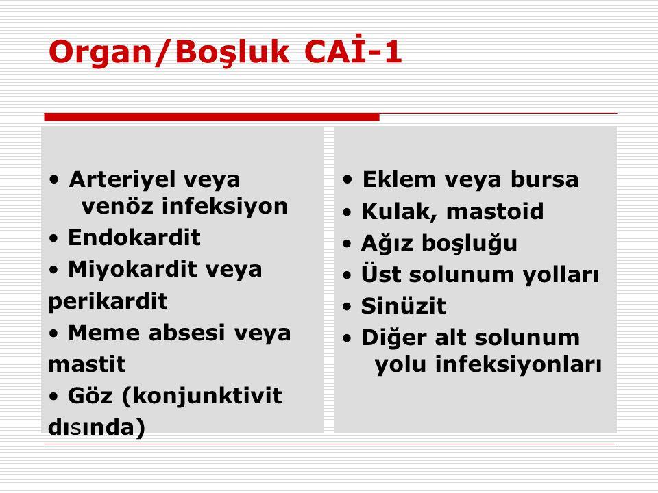 Organ/Boşluk CAİ-1 • Arteriyel veya venöz infeksiyon • Endokardit • Miyokardit veya perikardit • Meme absesi veya mastit • Göz (konjunktivit dısında)