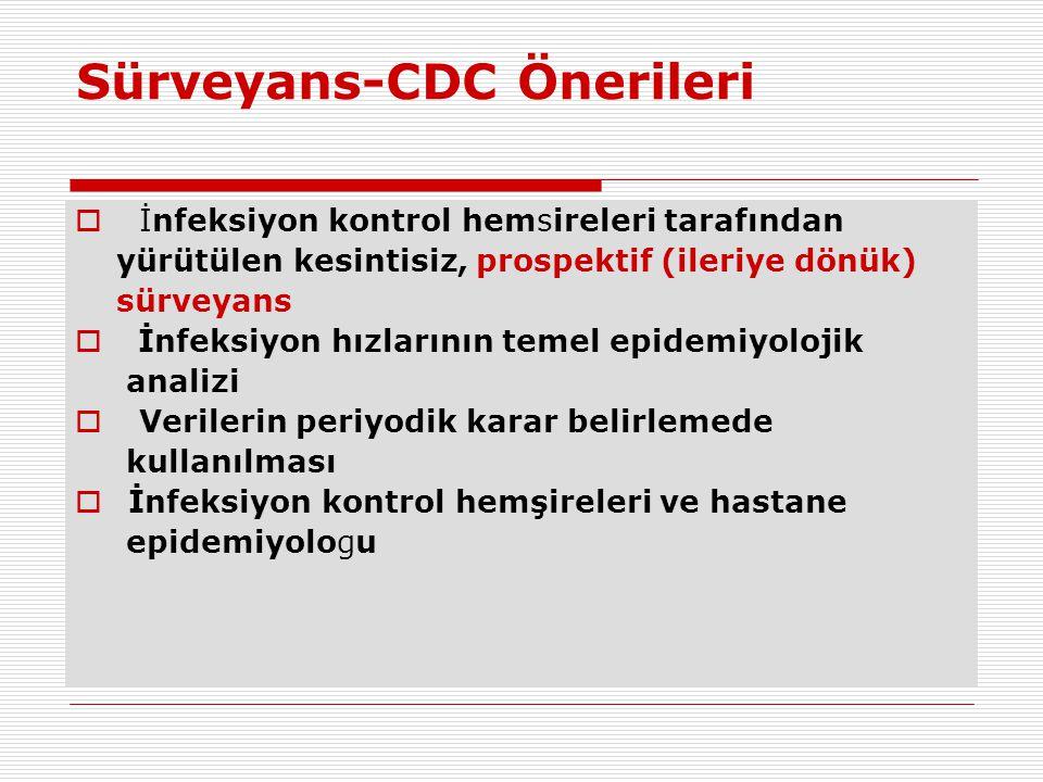 Sürveyans-CDC Önerileri  İnfeksiyon kontrol hemsireleri tarafından yürütülen kesintisiz, prospektif (ileriye dönük) sürveyans  İnfeksiyon hızlarının