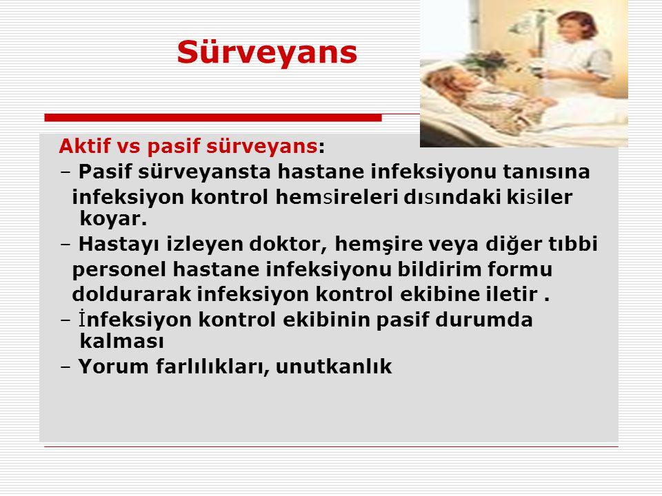 Sürveyans Aktif vs pasif sürveyans: – Pasif sürveyansta hastane infeksiyonu tanısına infeksiyon kontrol hemsireleri dısındaki kisiler koyar. – Hastayı