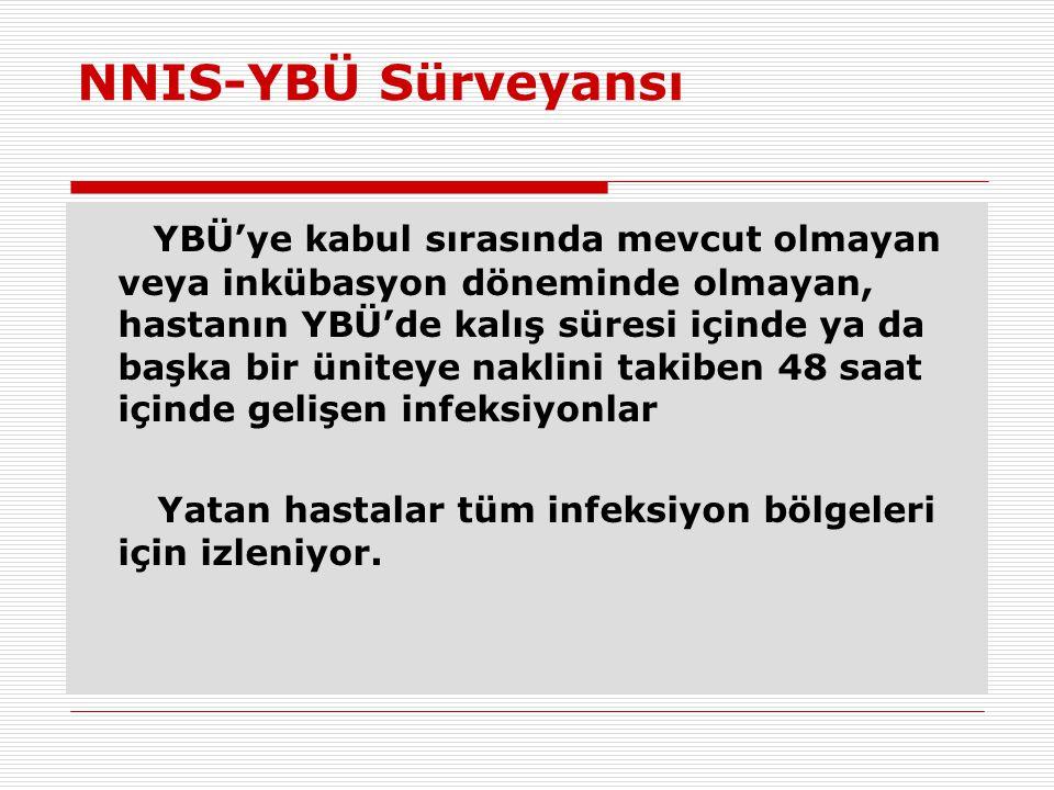NNIS-YBÜ Sürveyansı YBÜ'ye kabul sırasında mevcut olmayan veya inkübasyon döneminde olmayan, hastanın YBÜ'de kalış süresi içinde ya da başka bir ünite