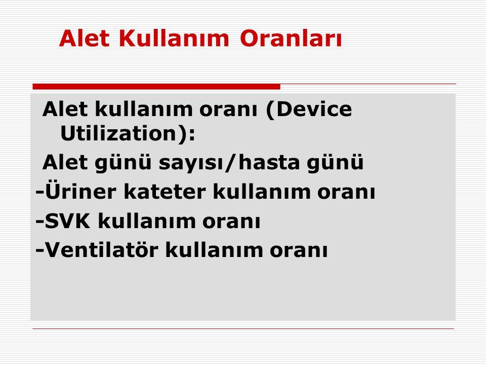 Alet Kullanım Oranları Alet kullanım oranı (Device Utilization): Alet günü sayısı/hasta günü -Üriner kateter kullanım oranı -SVK kullanım oranı -Venti