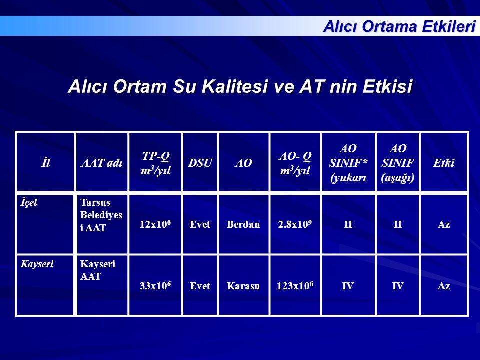 Alıcı Ortam Su Kalitesi ve AT nin Etkisi İlAAT adı TP-Q m 3 /yıl DSUAO AO- Q m 3 /yıl AO SINIF* (yukarı AO SINIF (aşağı) Etki İçelTarsus Belediyes i A