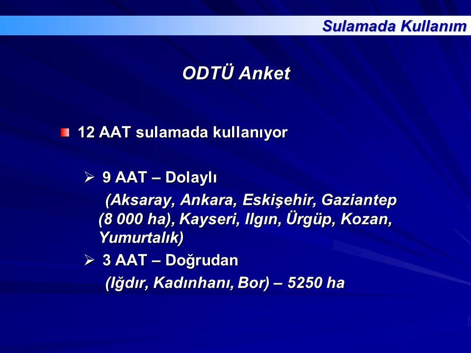 ODTÜ Anket 12 AAT sulamada kullanıyor  9 AAT – Dolaylı (Aksaray, Ankara, Eskişehir, Gaziantep (8 000 ha), Kayseri, Ilgın, Ürgüp, Kozan, Yumurtalık) (