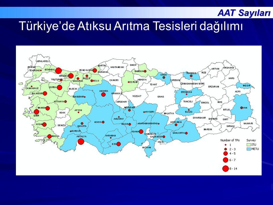 Türkiye'de Atıksu Arıtma Tesisleri dağılımı AAT Sayıları