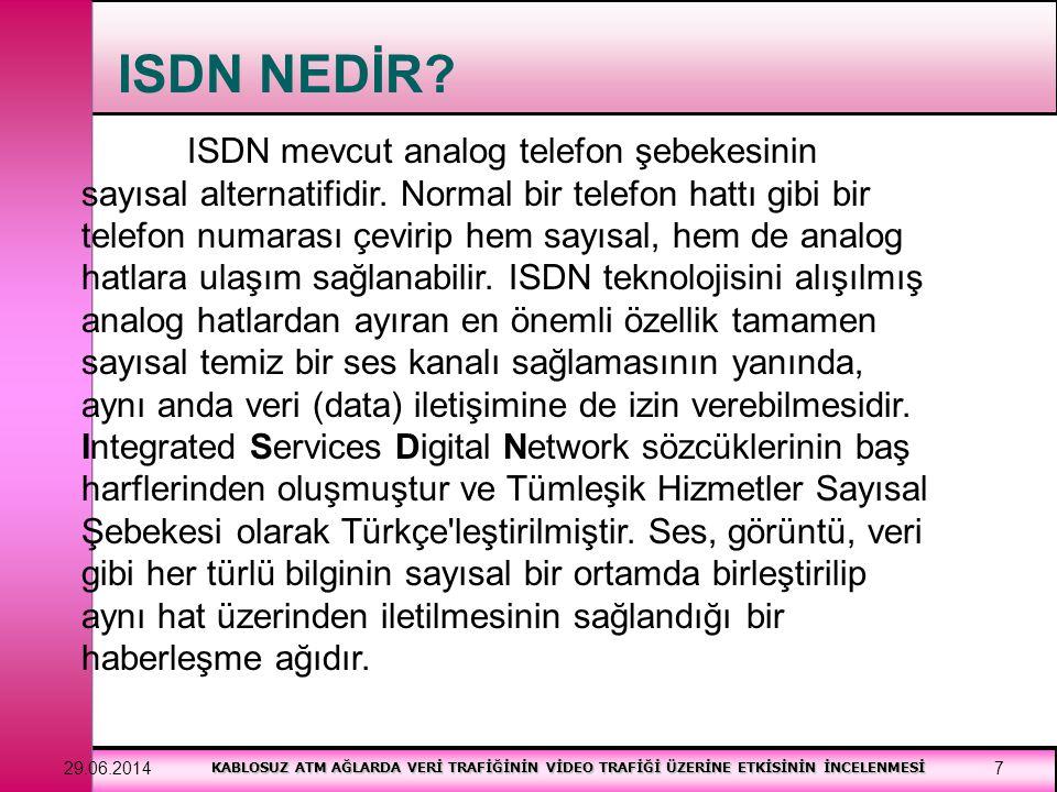 KABLOSUZ ATM AĞLARDA VERİ TRAFİĞİNİN VİDEO TRAFİĞİ ÜZERİNE ETKİSİNİN İNCELENMESİ 29.06.20148