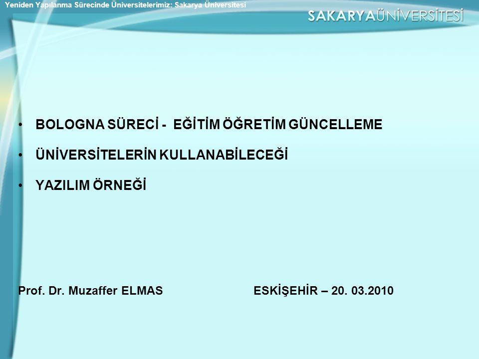 •BOLOGNA SÜRECİ - EĞİTİM ÖĞRETİM GÜNCELLEME •ÜNİVERSİTELERİN KULLANABİLECEĞİ •YAZILIM ÖRNEĞİ Prof. Dr. Muzaffer ELMAS ESKİŞEHİR – 20. 03.2010 Yeniden