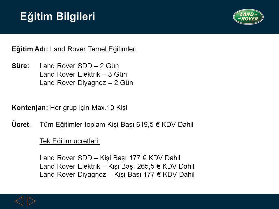 6/29/2014 Slide 4 Eğitim Bilgileri Eğitim Adı: Land Rover Temel Eğitimleri Süre: Land Rover SDD – 2 Gün Land Rover Elektrik – 3 Gün Land Rover Diyagnoz – 2 Gün Kontenjan: Her grup için Max.10 Kişi Ücret: Tüm Eğitimler toplam Kişi Başı 619,5 € KDV Dahil Tek Eğitim ücretleri; Land Rover SDD – Kişi Başı 177 € KDV Dahil Land Rover Elektrik – Kişi Başı 265,5 € KDV Dahil Land Rover Diyagnoz – Kişi Başı 177 € KDV Dahil