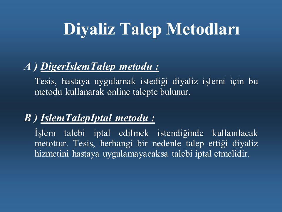 Diyaliz Talep Metodları A ) DigerIslemTalep metodu : Tesis, hastaya uygulamak istediği diyaliz işlemi için bu metodu kullanarak online talepte bulunur.