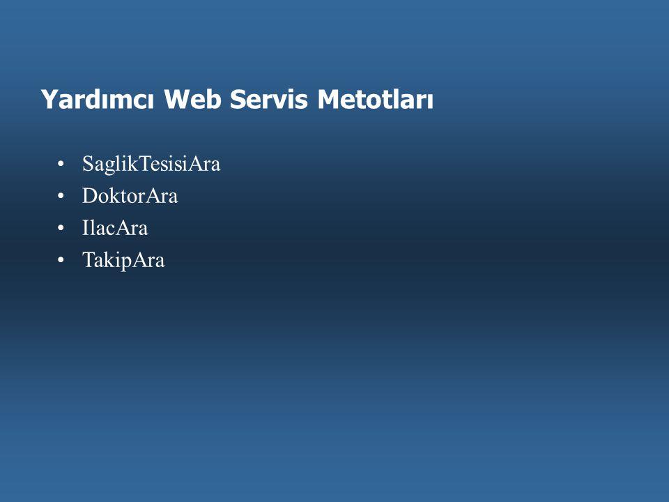 Yardımcı Web Servis Metotları •SaglikTesisiAra •DoktorAra •IlacAra •TakipAra