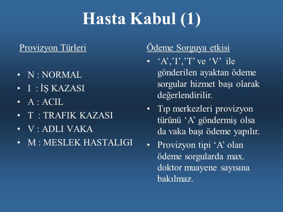 Hasta Kabul (1) Provizyon Türleri •N : NORMAL •I : İŞ KAZASI •A : ACIL •T : TRAFIK KAZASI •V : ADLI VAKA •M : MESLEK HASTALIGI Ödeme Sorguya etkisi •'A','I','T' ve 'V' ile gönderilen ayaktan ödeme sorgular hizmet başı olarak değerlendirilir.