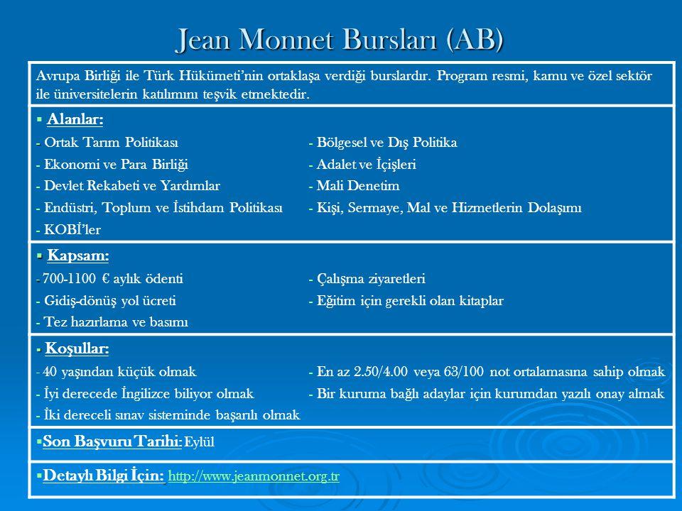 Jean Monnet Ara ş tırma Bursları (AB) Avrupa Birli ğ i ile Türk Hükümeti'nin ortakla ş a verdi ğ i burslardır.