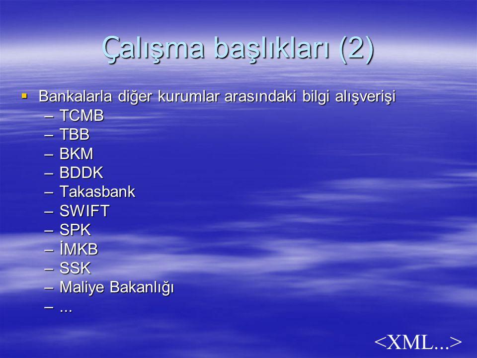 Ç alışma başlıkları (2)  Bankalarla diğer kurumlar arasındaki bilgi alışverişi –TCMB –TBB –BKM –BDDK –Takasbank –SWIFT –SPK –İMKB –SSK –Maliye Bakanlığı –...