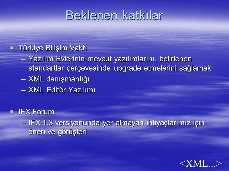 Beklenen katkılar  Türkiye Bilişim Vakfı –Yazılım Evlerinin mevcut yazılımlarını, belirlenen standartlar çerçevesinde upgrade etmelerini sağlamak –XML danışmanlığı –XML Editör Yazılımı  IFX Forum –IFX 1.3 versiyonunda yer almayan ihtiyaçlarımız için öneri ve görüşleri