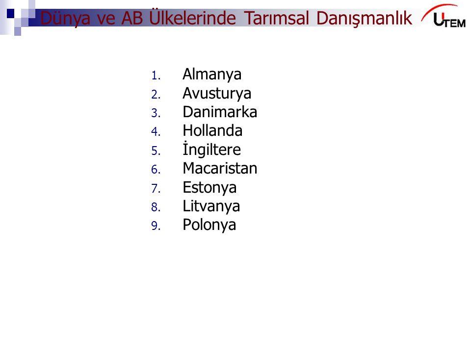 Dünya ve AB Ülkelerinde Tarımsal Danışmanlık 1. Almanya 2. Avusturya 3. Danimarka 4. Hollanda 5. İngiltere 6. Macaristan 7. Estonya 8. Litvanya 9. Pol