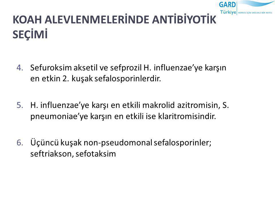 KOAH ALEVLENMELERİNDE ANTİBİYOTİK SEÇİMİ 4.Sefuroksim aksetil ve sefprozil H. influenzae'ye karşın en etkin 2. kuşak sefalosporinlerdir. 5.H. influenz