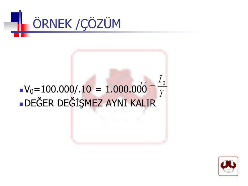 ÖRNEK /ÇÖZÜM  V 0 =100.000/.10 = 1.000.000  DEĞER DEĞİŞMEZ AYNI KALIR