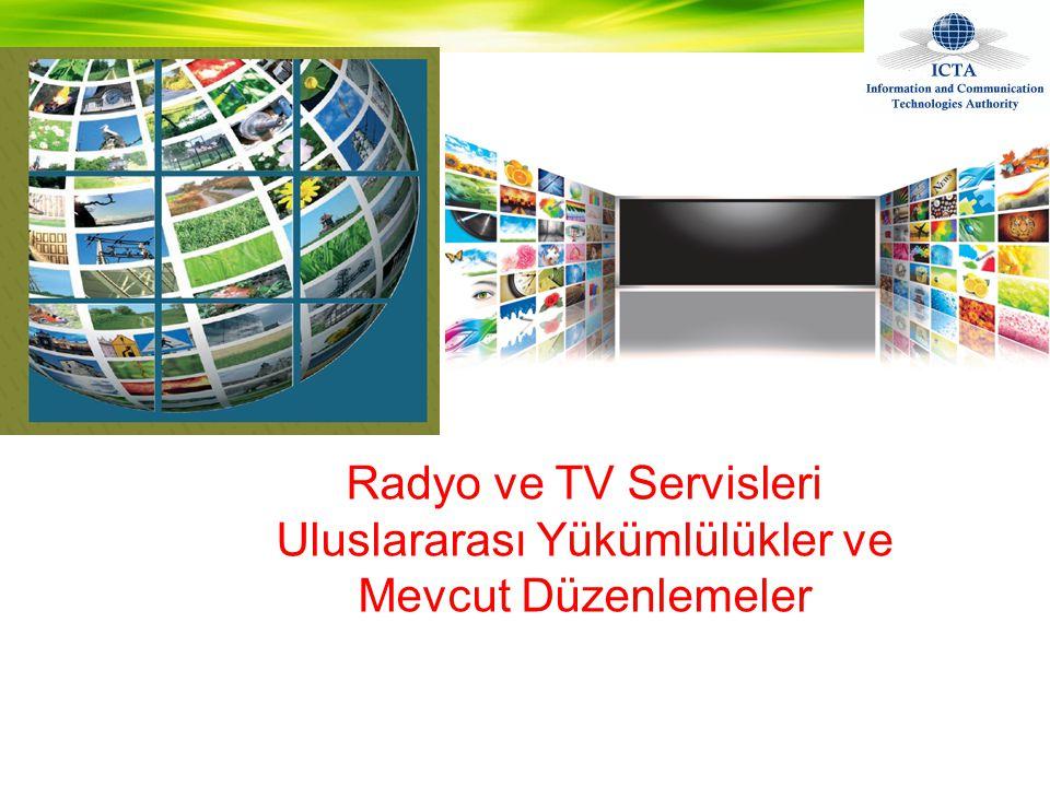 •ST61 Anlaşması ve Planı Avrupa Bölgesin'ndeki televizyon ve ses yayıncılığı için, 1961 •GE89 Afrika and Arap ülkeleri için geliştirilen analog plan Genevre, İsviçre (GE89).