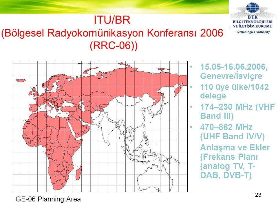 ITU/BR (Bölgesel Radyokomünikasyon Konferansı 2006 (RRC-06)) •15.05-16.06.2006, Genevre/İsviçre •110 üye ülke/1042 delege •174–230 MHz (VHF Band III) •470–862 MHz (UHF Band IV/V) Anlaşma ve Ekler (Frekans Planı (analog TV, T- DAB, DVB-T) 23 GE-06 Planning Area