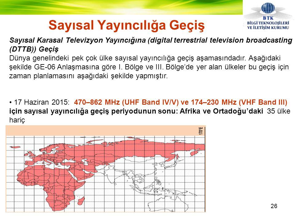 Sayısal Yayıncılığa Geçiş 26 Sayısal Karasal Televizyon Yayıncığına (digital terrestrial television broadcasting (DTTB)) Geçiş Dünya genelindeki pek çok ülke sayısal yayıncılığa geçiş aşamasındadır.