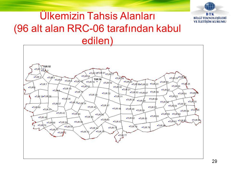 Ülkemizin Tahsis Alanları (96 alt alan RRC-06 tarafından kabul edilen) 29