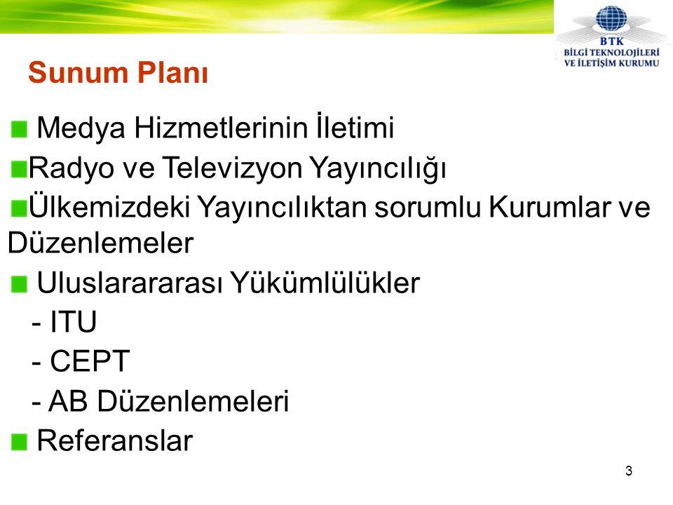 Sunum Planı Medya Hizmetlerinin İletimi Radyo ve Televizyon Yayıncılığı Ülkemizdeki Yayıncılıktan sorumlu Kurumlar ve Düzenlemeler Uluslarararası Yükümlülükler - ITU - CEPT - AB Düzenlemeleri Referanslar 3