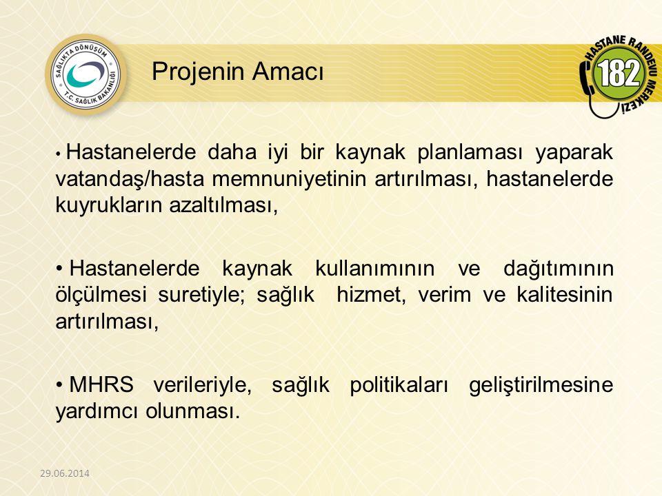 Projenin Genel Karakteristikleri - 1 29.06.2014 • Randevu sistemine 3 haneli özel bir numara ile (182) erişilip, vatandaşlar şu an canlı operatörlerden randevu almaktadırlar.