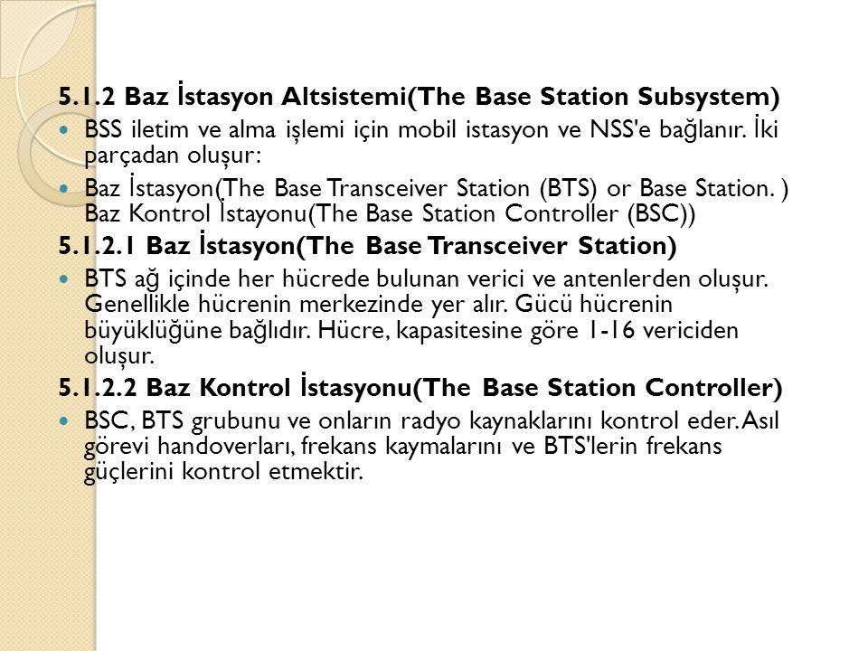 5.1.2 Baz İ stasyon Altsistemi(The Base Station Subsystem)  BSS iletim ve alma işlemi için mobil istasyon ve NSS'e ba ğ lanır. İ ki parçadan oluşur:
