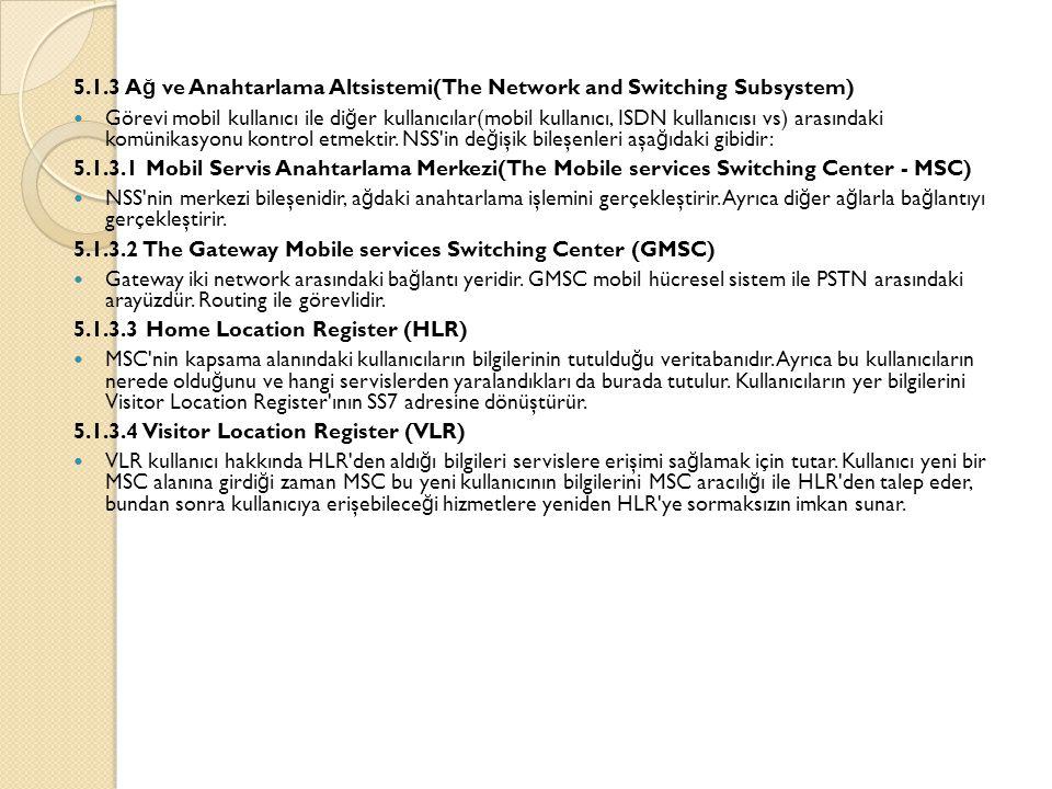 5.1.3 A ğ ve Anahtarlama Altsistemi(The Network and Switching Subsystem)  Görevi mobil kullanıcı ile di ğ er kullanıcılar(mobil kullanıcı, ISDN kullanıcısı vs) arasındaki komünikasyonu kontrol etmektir.