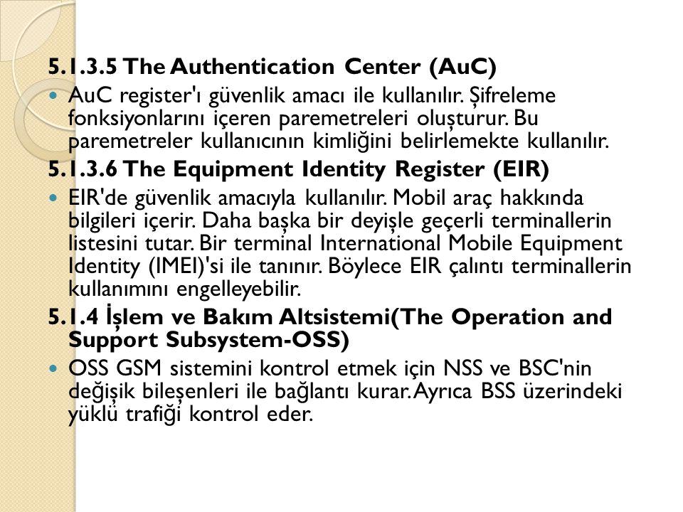 5.1.3.5 The Authentication Center (AuC)  AuC register'ı güvenlik amacı ile kullanılır. Şifreleme fonksiyonlarını içeren paremetreleri oluşturur. Bu p
