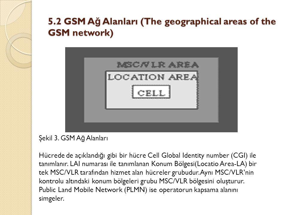 5.2 GSM A ğ Alanları (The geographical areas of the GSM network) Şekil 3. GSM A ğ Alanları Hücrede de açıklandı ğ ı gibi bir hücre Cell Global Identit