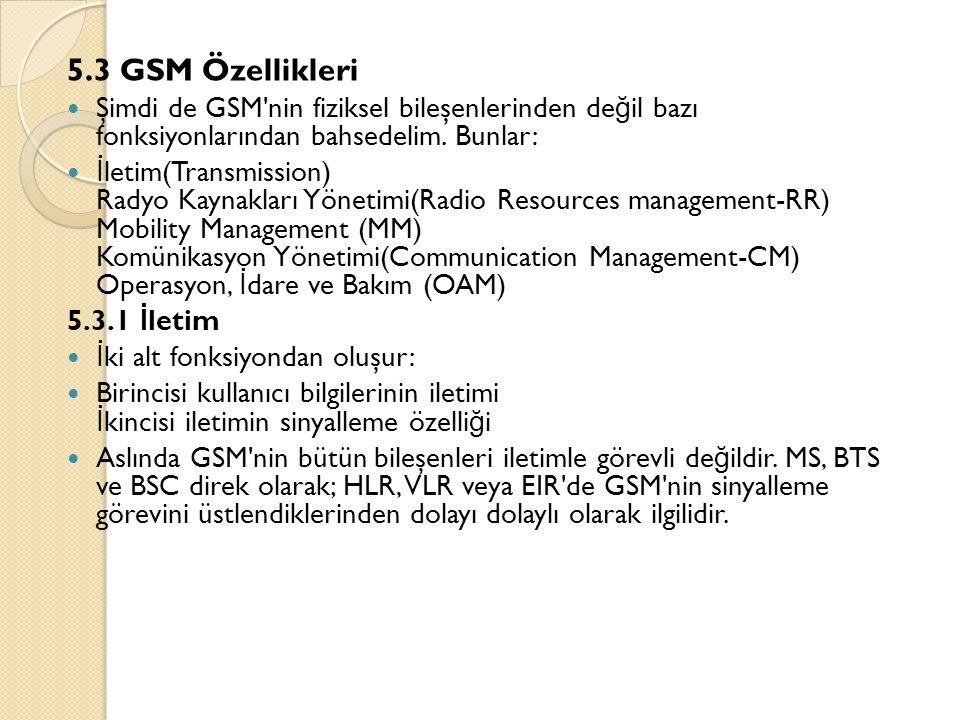5.3 GSM Özellikleri  Şimdi de GSM'nin fiziksel bileşenlerinden de ğ il bazı fonksiyonlarından bahsedelim. Bunlar:  İ letim(Transmission) Radyo Kayna