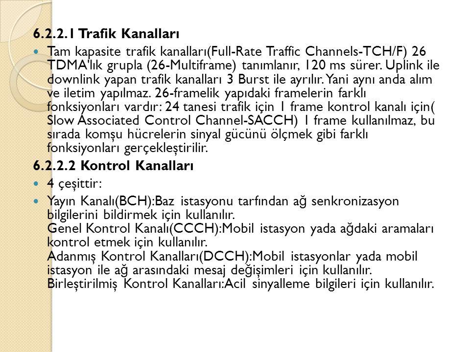6.2.2.1 Trafik Kanalları  Tam kapasite trafik kanalları(Full-Rate Traffic Channels-TCH/F) 26 TDMA lık grupla (26-Multiframe) tanımlanır, 120 ms sürer.