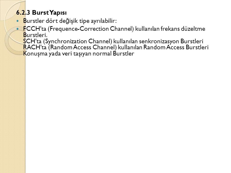 6.2.3 Burst Yapısı  Burstler dört de ğ işik tipe ayrılabilir:  FCCH'ta (Frequence-Correction Channel) kullanılan frekans düzeltme Burstleri. SCH'ta