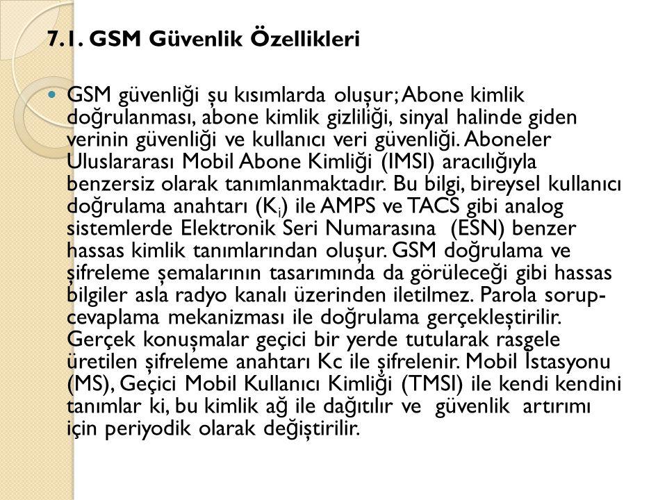 7.1. GSM Güvenlik Özellikleri  GSM güvenli ğ i şu kısımlarda oluşur; Abone kimlik do ğ rulanması, abone kimlik gizlili ğ i, sinyal halinde giden veri