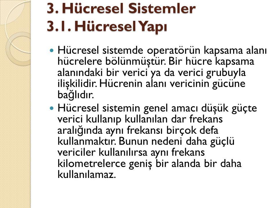 3. Hücresel Sistemler 3.1. Hücresel Yapı  Hücresel sistemde operatörün kapsama alanı hücrelere bölünmüştür. Bir hücre kapsama alanındaki bir verici y