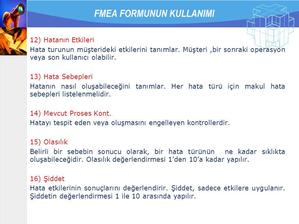 7) Revizyon Tarihi FMEA'nın son revizyon tarihi yazılır. 8) FMEA Numarası Takip etmek amacıyla kullanılabilecek bir FMEA numarası yazılır. 9) Sayfa FM