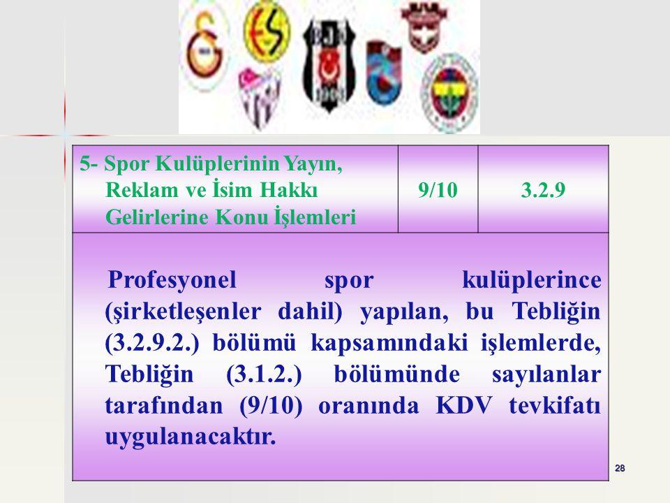 28 5- Spor Kulüplerinin Yayın, Reklam ve İsim Hakkı Gelirlerine Konu İşlemleri 9/103.2.9 Profesyonel spor kulüplerince (şirketleşenler dahil) yapılan,