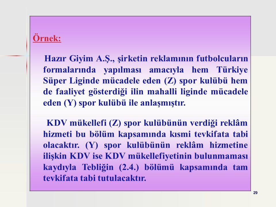 29 Örnek: Hazır Giyim A.Ş., şirketin reklamının futbolcuların formalarında yapılması amacıyla hem Türkiye Süper Liginde mücadele eden (Z) spor kulübü